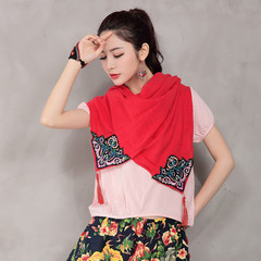Folk style women's spring solid Mianma Scarf Shawl embroidered pendant dual-purpose