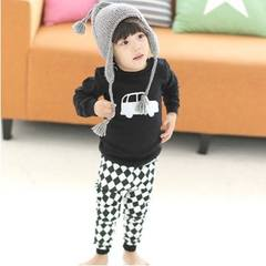 Boys and girls 2016 new autumn and winter warm suit children underwear baby long johns cotton clothing. White car 130cm
