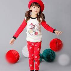 The new children's underwear set Infant Baby cotton long sleeved clothes children long johns in spring and autumn. Watermelon red red Christmas Penguin 120cm