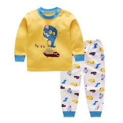 Boys' underwear set 2017 Hitz children treasure baby girls long johns autumn clothes PS Jacket - little dinosaur yellow 55 yards is suitable for May -10 months