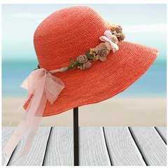 Bowknot fishing net crochet raffia grass flanged jazz straw hat hat hat cowboy hat adjustable orange garland straw rope (10cm)