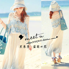 South Korea`s original ecological natural straw hat Hepburn style retro lace fisherman`s hat sunshade women summer adjustable only beautiful blue spot