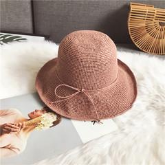 Foldable beach holiday sunshade hats hand-woven fisherman`s basin hats summer ladies sun protection hats adjustable leather pink