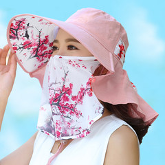 Summer hat male UV sunscreen sun hat sun visor cap outdoor youth face fishing cap, fisherman hat M (56-58cm) Ink painting pink