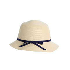 Simple entry-level Taiwan braided dome basin cap ultra light summer female daily wear straw hat shading all-match hat Adjustable Wheat color (blue paragraph)