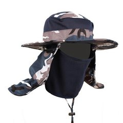 Outdoor fisherman's cap, male and female children's sun hat, fishing cap, quick drying, breathable mountaineering waterproof sunscreen cap, parent-child folding M (56-58cm) Camouflage 1