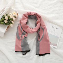 New Europe and America thick warm, autumn and winter female scarf, shawl, powder, gray, bear, female dual-use pentagram, M letters Pink series