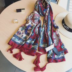 The new meters home in the summer of May the new female folk style bright and colorful cotton scarf scarf shawl Beach Blue wine red color flower