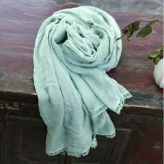 The spring and autumn new folk style handmade silk scarf hanging travel fringed Scarf Shawl female pure sunscreen Green beans