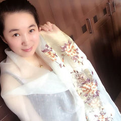 2017 new winter high-grade silk, wool scarf, embroidered silk scarves, spring, autumn and winter shawls, Korean embroidery Cicada Guose white rice