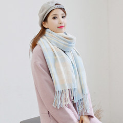 Autumn and winter all-match fringed scarf female small fresh Plaid dual-purpose Clubman thick warm scarf students Blue Plaid