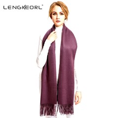 Korean version of pure Lingke red scarf, wool, autumn and winter thickening grey lamb, long shawl grape Purple 1