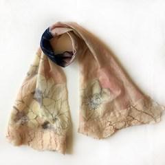 Bulgarian designer Klara felt wool, silk, elegant shawls, scarves, scarves, light peach orchids Custom, everyone is unique