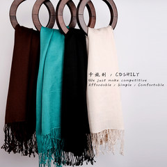 COSHILY wild color, pure coffee, silk, wool blended scarf, shawl, female dual-purpose, dark green.