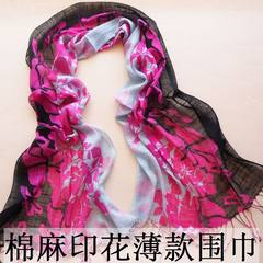 Korean female Floral Scarf Shawl cotton pastoral spring thin dual-use sunscreen collar Black Rose double color