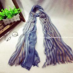 The spring stripe cotton scarf female Korean linen summer all-match long oversized Scarf Shawl female beach sunscreen Blue striped cotton denim