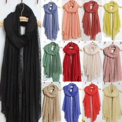 The new senior leisure boutique Korean cotton yarn quality ^ Lace Scarf Shawl scarves QA6 black women's Ms. F color