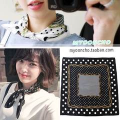 Korea imported Dahong simple fashion chain small square wave silk scarf female black and white 2 color Ivory white ivory (reserved)