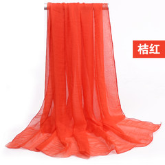 The summer light blue silk chiffon long scarf pure sunscreen Korean beach towel and shawl Orange red