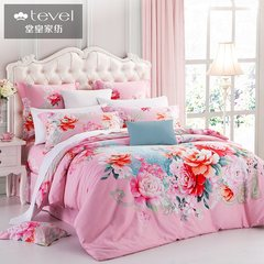 Tevel/ grand textile product Pink Wedding peached cotton four piece thick winter cotton print Kit 1.5m (5 feet) bed