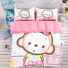Four sets of high-grade sanded spring cartoon fitted 1.5m bed children three piece mattress Princess wind new paragraph Adorable monkey fitted type 1.2m (4 feet) bed
