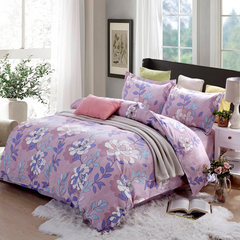 Autumn and winter new style simple Nordic grinding four piece 1.5/1.8m double bedding bedding quilt four sets of flower and flower 1.8m (6 ft) bed
