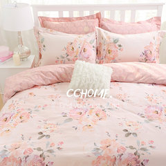 Cotton bedding Home Furnishing four sets of reactive printing peached cotton bed sheet European Garden The beauty of rhyme 1.5m (5 feet) bed