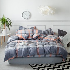 The simple stripe thick warm cotton sanded bed four pieces of cotton bedding bedding in autumn and winter Bed linen Glass 2.0m bed / quilt cover, 220*240cm/ four piece set