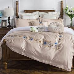 The connotation of the 60s double color satin American villa cotton four set 1.8m cotton bedding quilt European gamma ZYJ- Ganiye - khaki four piece 1.5m (5 feet) bed