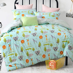 Exported to Europe and the United States 60 Satin activity four piece cotton cotton simple cartoon cute bedding Suite Default sheets Other