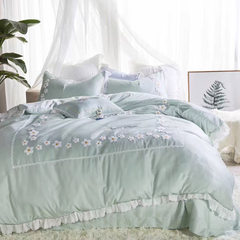 In the summer of 60 pairs of simple solid Egyptian cotton bed cotton four piece cotton quilt small fresh 1.8m Bed linen MDS Daisy blue dream 1.5m (5 feet) bed