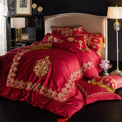 American cotton Embroidery Wedding heavy cotton four set 1.8m cotton bed sheet, quilt cover MN- Scarlett, four piece suit 1.5m (5 feet) bed