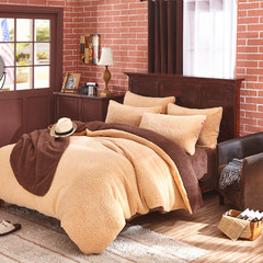 Lambs four piece 1.8m thickening warm short plush winter roll 2 m bedding quilt 4 piece S Dove bedspread 1.5m (5 ft) bed