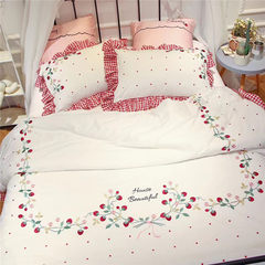 60 Pure Cotton Satin Embroidered strawberry Princess pastoral style bedding cotton four piece Strawberry four set 1.5m (5 feet) bed