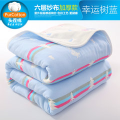 Towels are made of pure cotton gauze, double air conditioners, towels, blankets, babies, babies, blankets and blankets +1 yuan, buy export towels Lucky Tree Blue / six layer gauze thickening RZ