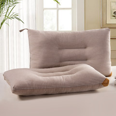 Monthly washable cotton pillow, washable, machine washed cotton stripe, pure cotton pillows, a pair of 2 pillow, single Stripe coffee