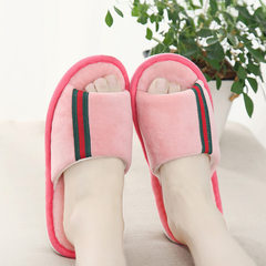 Japanese spring and autumn cotton slippers, female home lovers, indoor wooden floor, linen slippers, summer home antiskid slippers man 38-39 yards fit for 37-38 yards Pink