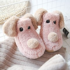 Mother and child home use cotton slippers, female winter bag with thick bottom, anti slip lovely couple, indoor home warm male cartoon Size 28 (for size 42-43) Pink Dog