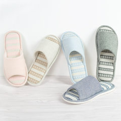 The new spring and summer home anti-skid slippers for male and female couples striped interior wooden floor Home Furnishing cotton slippers Size 24 (for size 35-36) Wathet