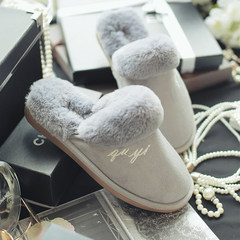 New cotton slippers, men and women thick bottom, winter Korean version, home lovers home floor antiskid thermal indoor plush shoes 44-45 (for 42-43 yards) Mysterious grey