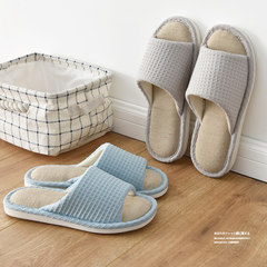 Japanese style spring autumn linen, cotton slippers, men and women home slippers, domestic antiskid indoor wooden floor 39-40 (for 38-39) Gray