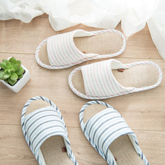 Excellent summer linen slippers home, bedroom, Japanese family, a family of three stripes anti slip Size 28 (for size 42-43) light pink