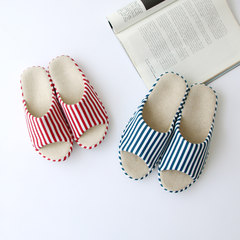 Japanese spring summer Home Furnishing linen slippers indoor men slip Cotton Striped slippers Ms. couples home Size 27 (for size 40-41) gules