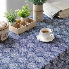 Cotton cloth folk style tea table cloth Japanese tea retro TV cabinet blue custom printing scarf Japanese tablecloth 80*80cm