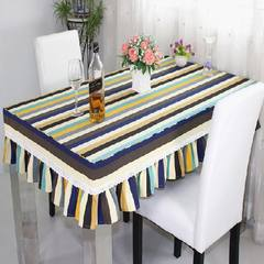 All cotton thickening canvas cloth table cover cloth table cover table cloth table tea cover dust cover can be customized Nordic stripes 65+17 vertical *180cm