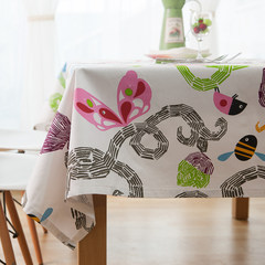 Rural cartoon thickening cotton canvas tablecloth, table cloth, children's room, tablecloth, coffee table cloth cloth can be customized mail Crayon cartoon 80*80cm