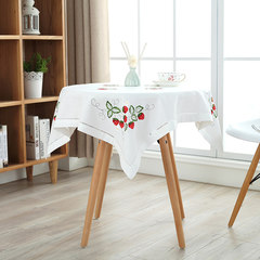 Small fresh cotton cloth embroidered tablecloth table cloth rectangular table cloth round table cloth mat flower garden Strawberry, Tian Xin 65+17 vertical *180cm