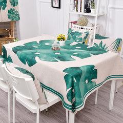 Refreshing garden cotton and Linen Tablecloth cloth, Scandinavian tea table, round table, rectangle thickening tablecloth, green cover cloth, green leaf A3 140*140CM