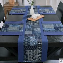 Silk darktoy Chinese style cotton handmade patchwork fabric blue runner simple table cloth gift Table runner 32*190+ mat 28*40*4 32*190cm (home page is better)