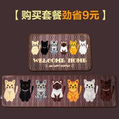 Kalemei cute cartoon cat long kitchen bedroom bedside bed carpet slip mat mat pattern 40× 60CM Fashion meow -N
